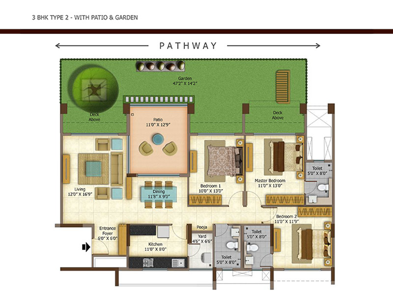Ashok meadows 2 3 bhk apartments floor plan for Backyard apartment floor plans