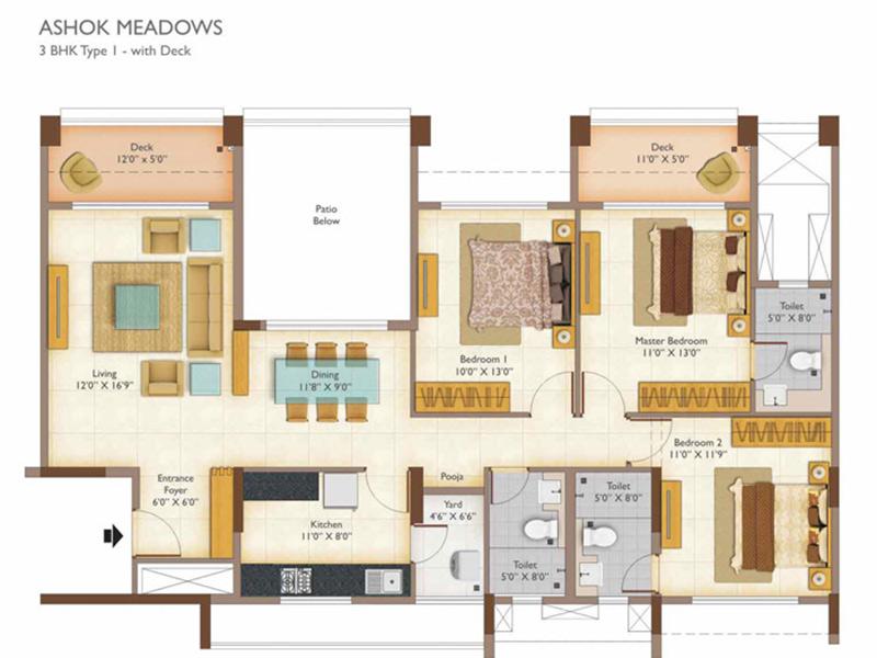 Ashok Meadows 2 3 Bhk Apartments Floor Plan