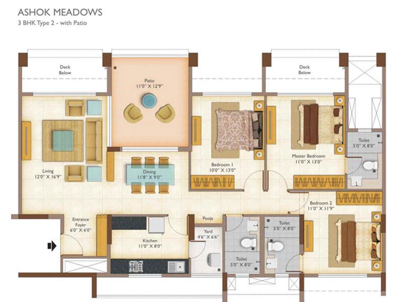Ashok meadows 2 3 bhk apartments floor plan for 4 bhk plan layout
